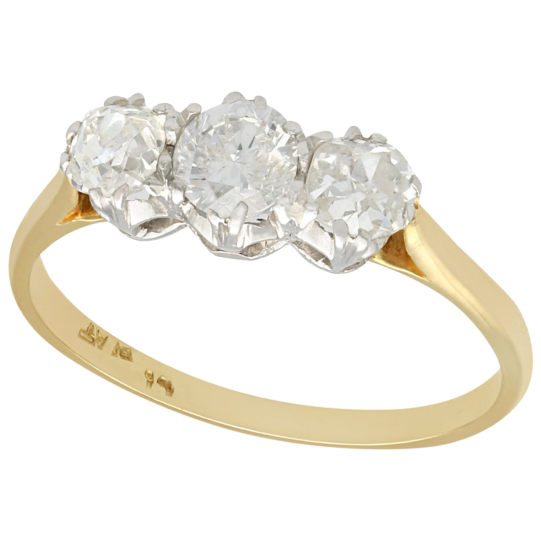 Antique Diamond and Yellow Gold Trilogy Ring, circa 1910