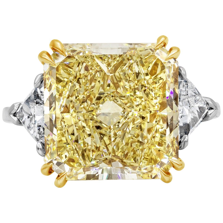 Roman Malakov Radiant Cut Yellow Diamond Three-Stone Engagement Ring