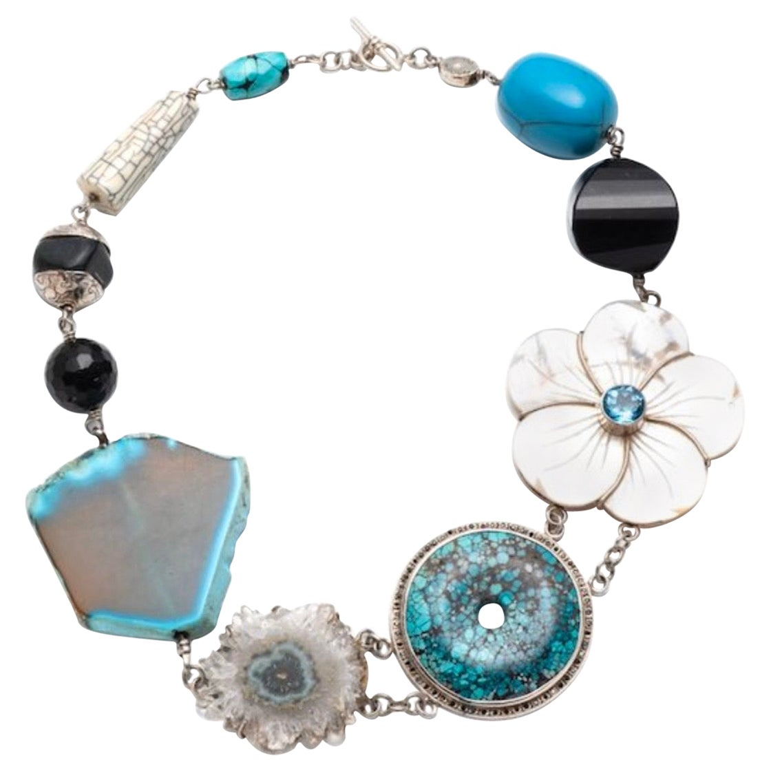 Jane Magon Collections Multiple Gem Statement Necklace in Sterling Silver