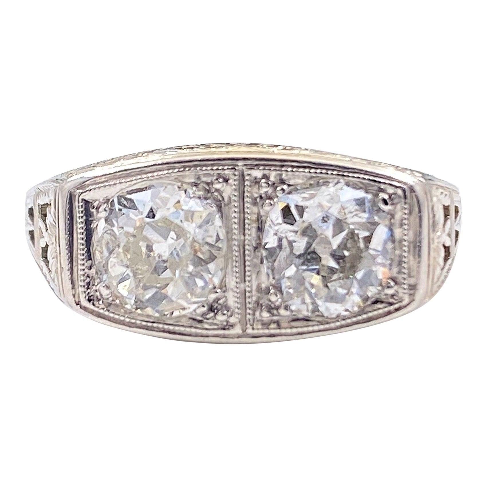 Antique Art Nouveau Diamond Ring 1.25 Carat Old Mine Cut 18 Karat White Gold