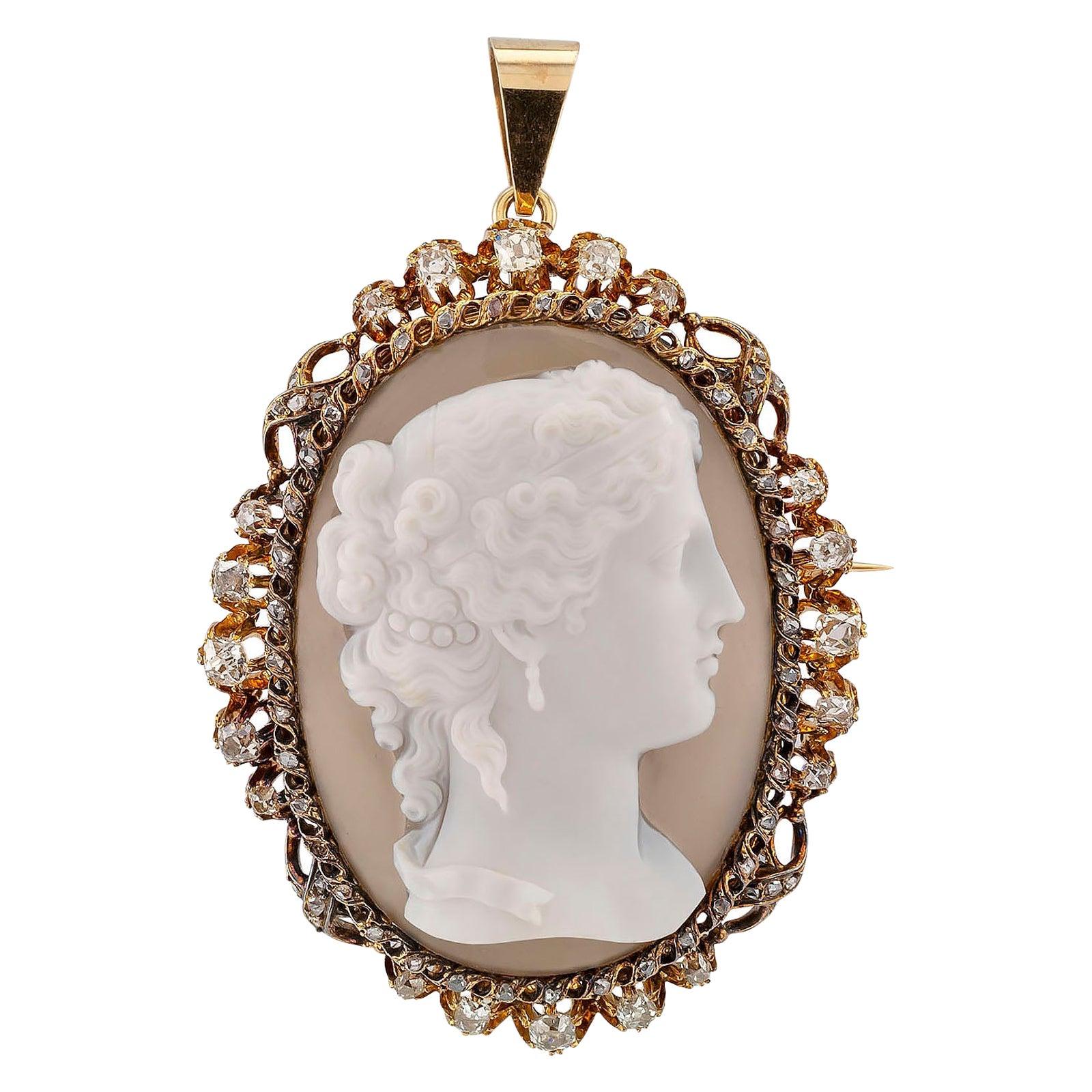 Victorian Hardstone Cameo Diamond Gold Silver Brooch Pendant