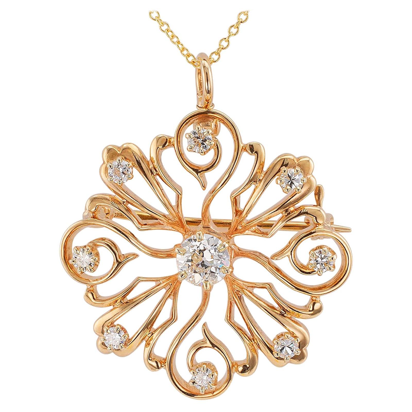 Victorian Revival Diamond Starburst Yellow Gold Brooch Pendant