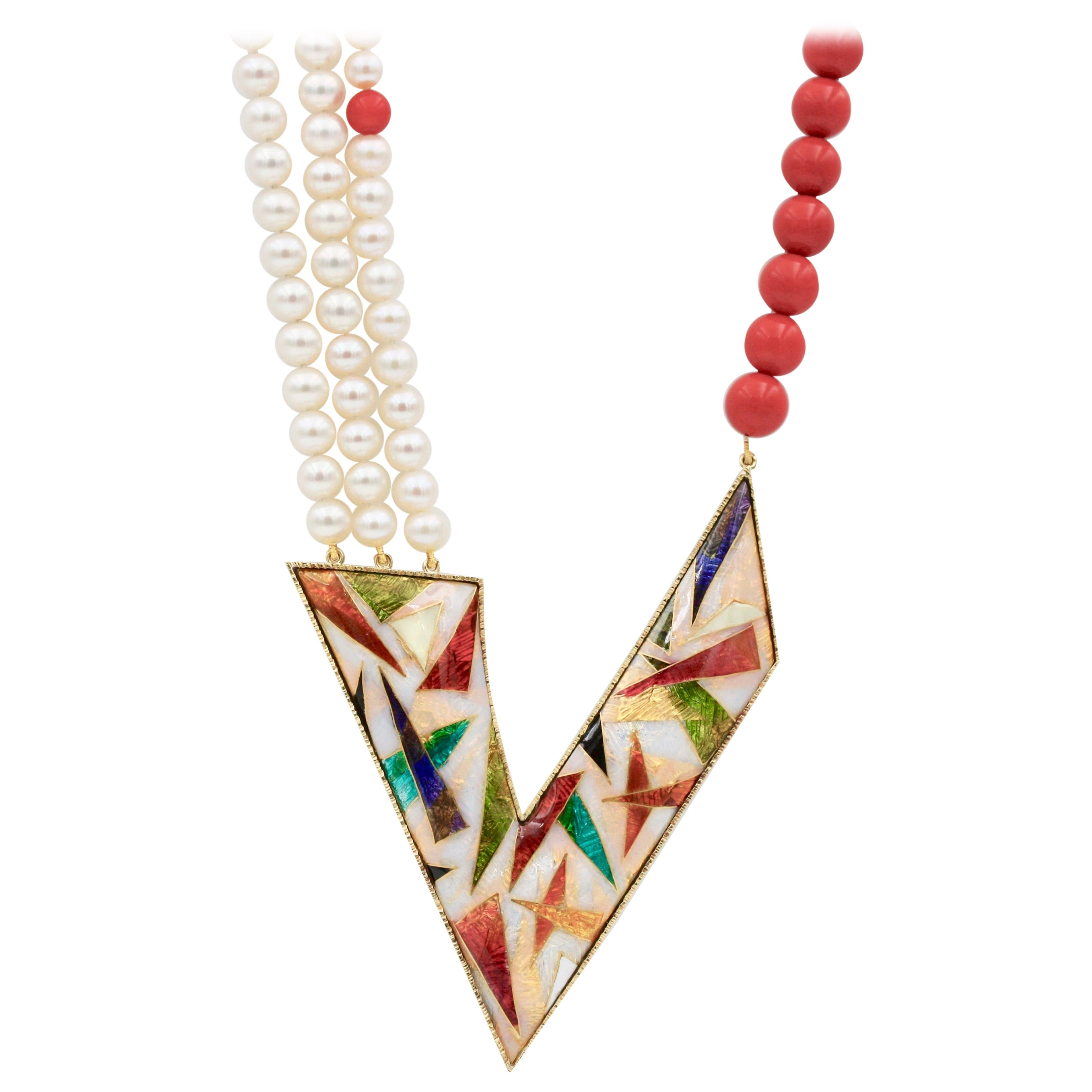 Cloisonné Enamel 24 and 22 Karat Yellow Gold Coral Beads Pearls Pendant Necklace