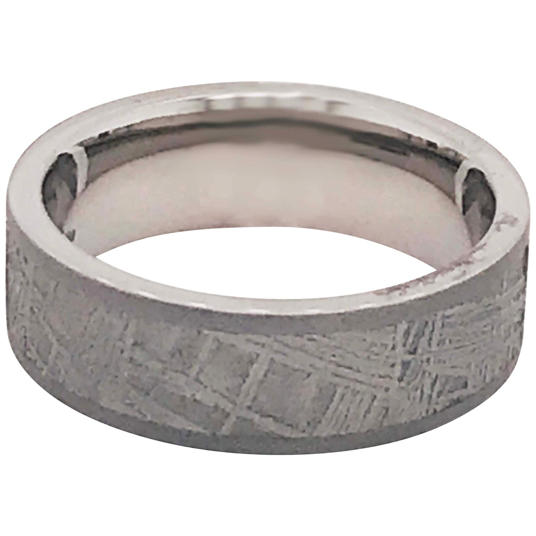 Meteorite Titanium Men's Band, Distressed Finish Comfort Fit Wedding Ring, Band