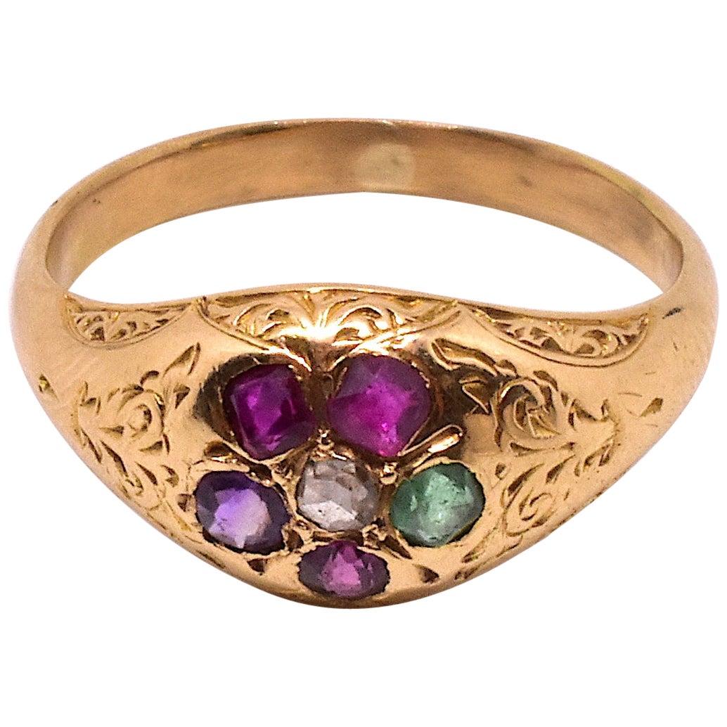 Antique 15 Karat Gold Victorian Forget-Me-Not Regard Ring