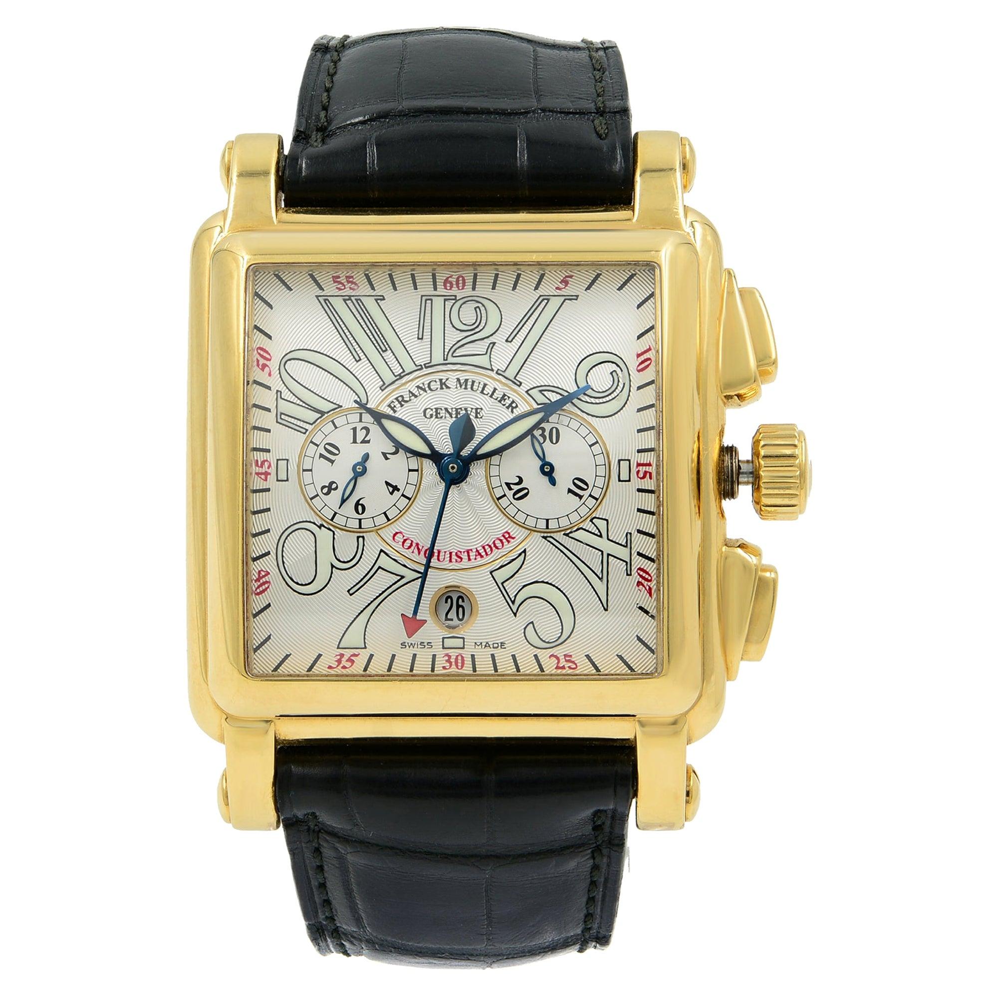 Franck Muller Conquistador Cortez 18k Gold Leather Automatic Mens Watch 10000 CC