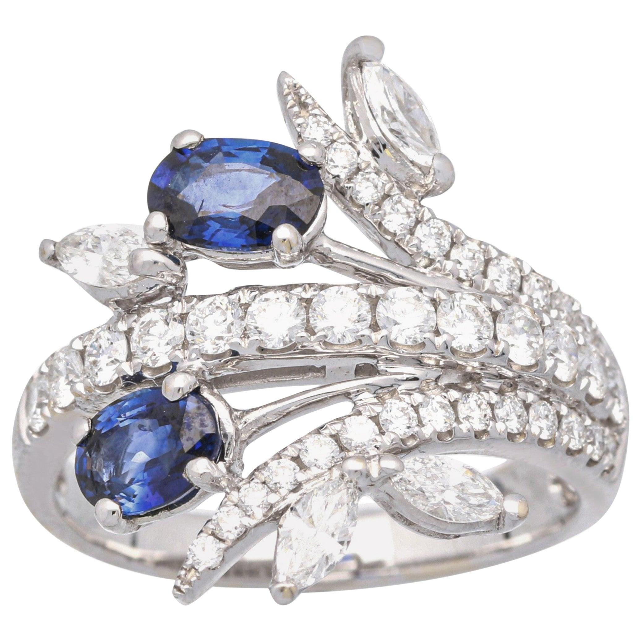 1 Carat Natural Blue Sapphire 18 Karat White Gold Statement Ring