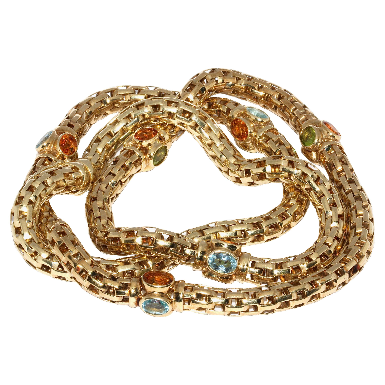 Long, Ladies Necklace, King Chain with Gemstones, 14 Karat Gold