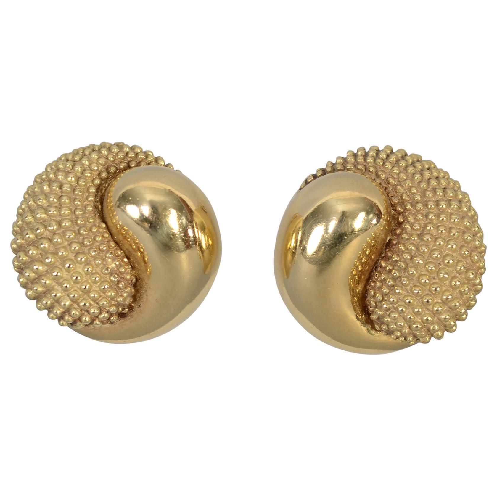 Yin Yang Gold Ear Clips