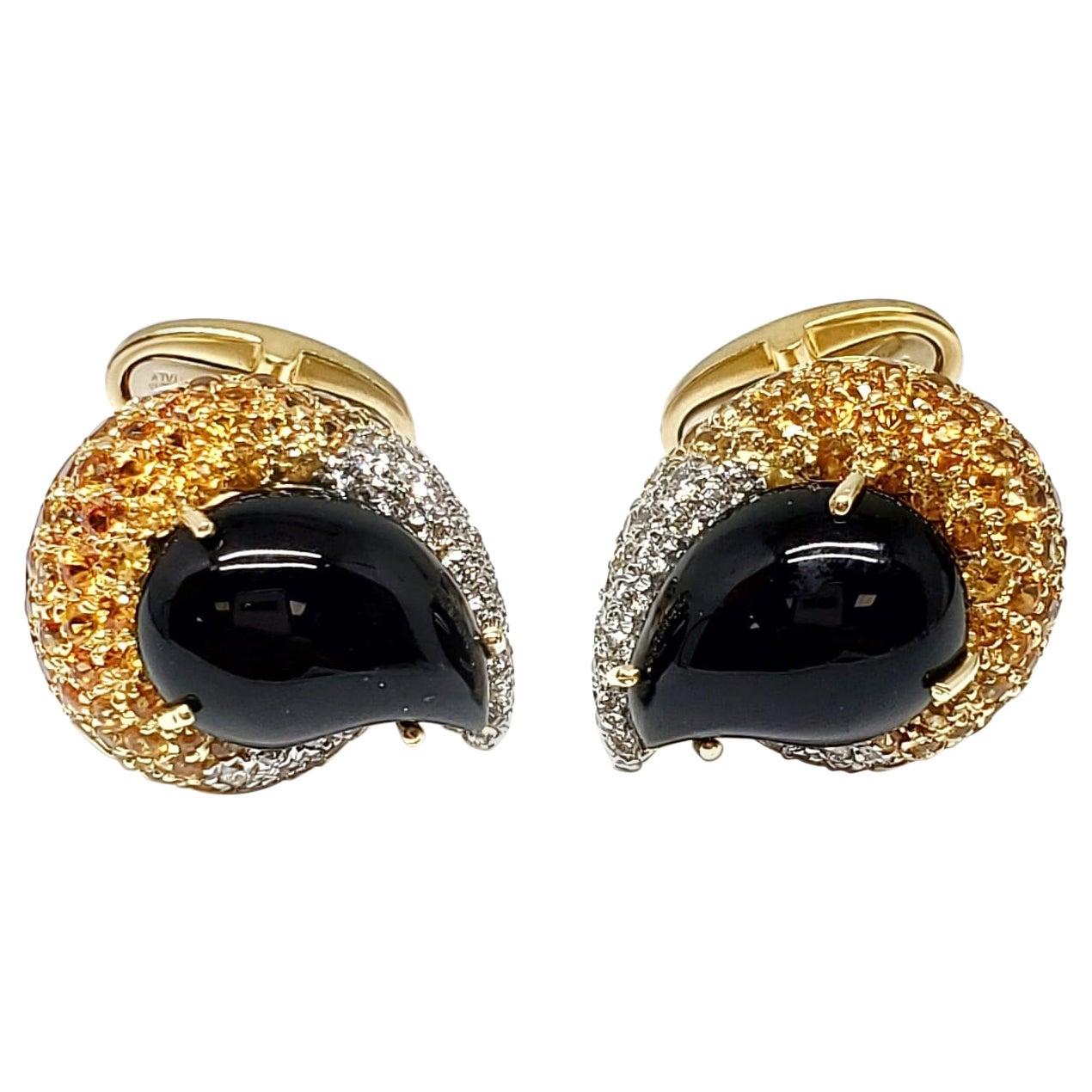 Andreoli Onyx Yellow Sapphire Diamond 18 Karat Yellow Gold Men's Cufflinks