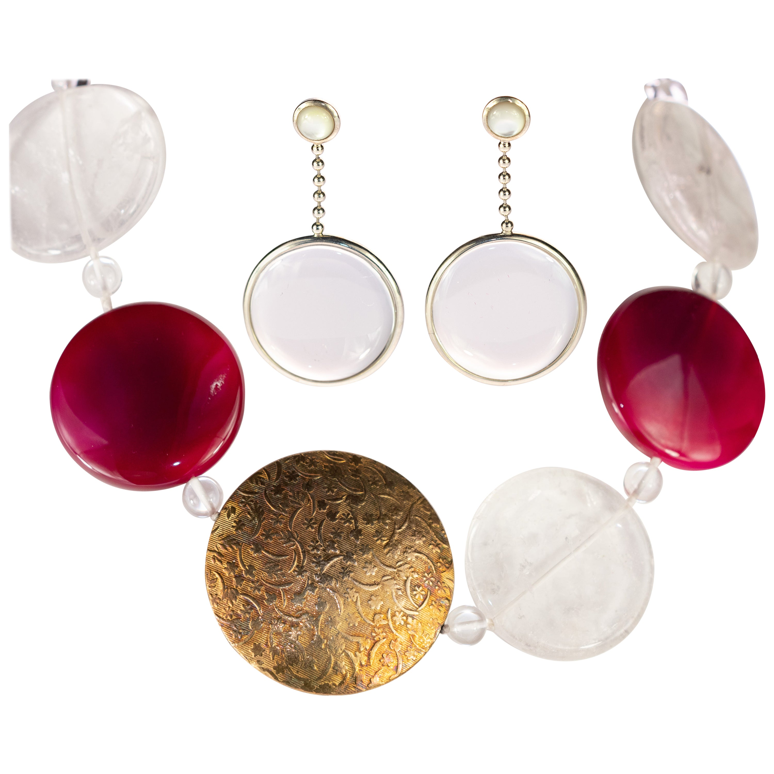 Rock Crystal Freshwater Pearl Agate Color Beaded Necklace Dangle Earrings Set