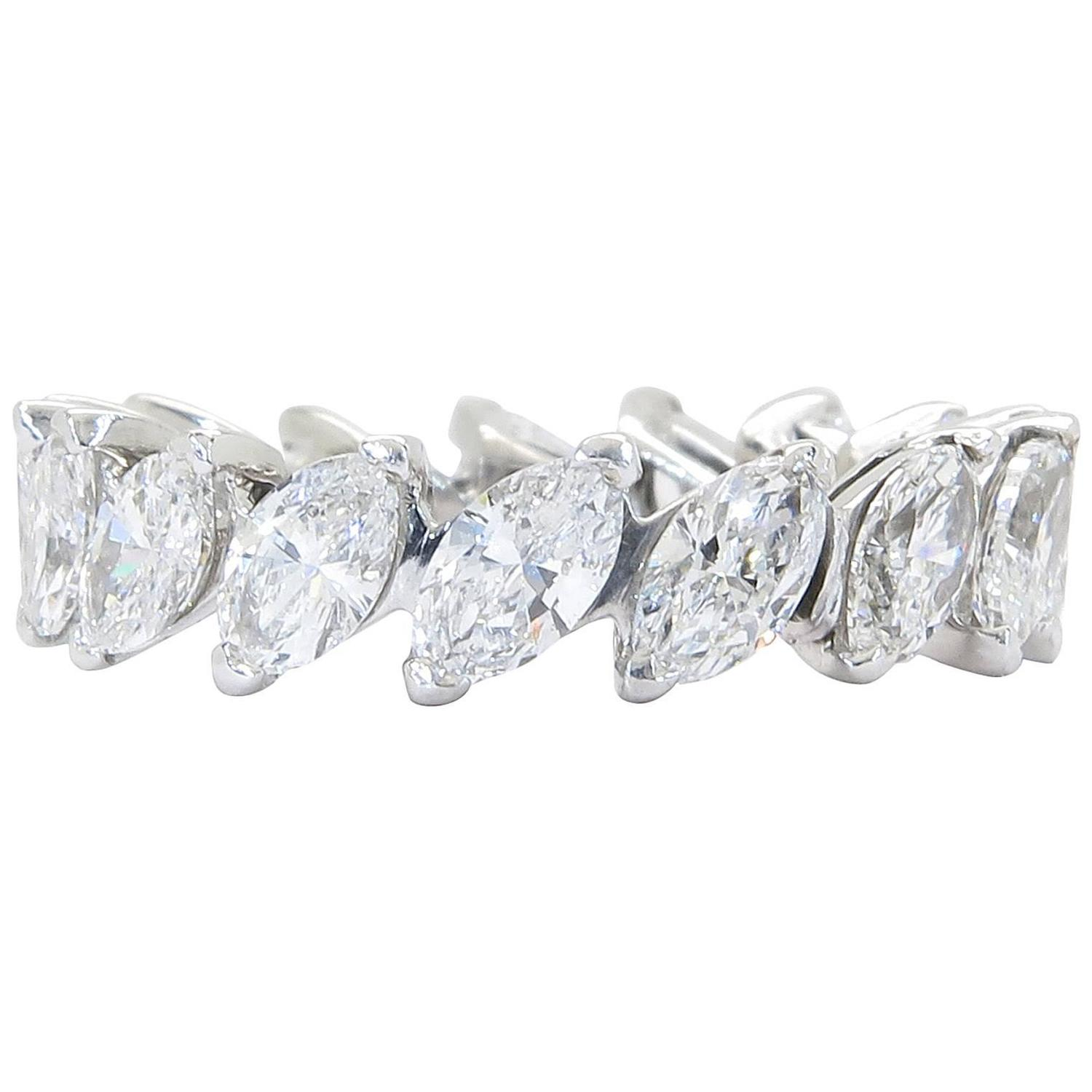 Mouawad Marquise Diamond Gold Eternity Band At 1stdibs