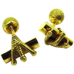 Tiffany & Co. France Gold Ball and Claw Cufflinks