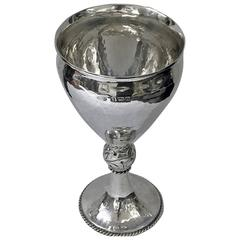 A.E. Jones hammered Sterling Silver Goblet, Birmingham 1909