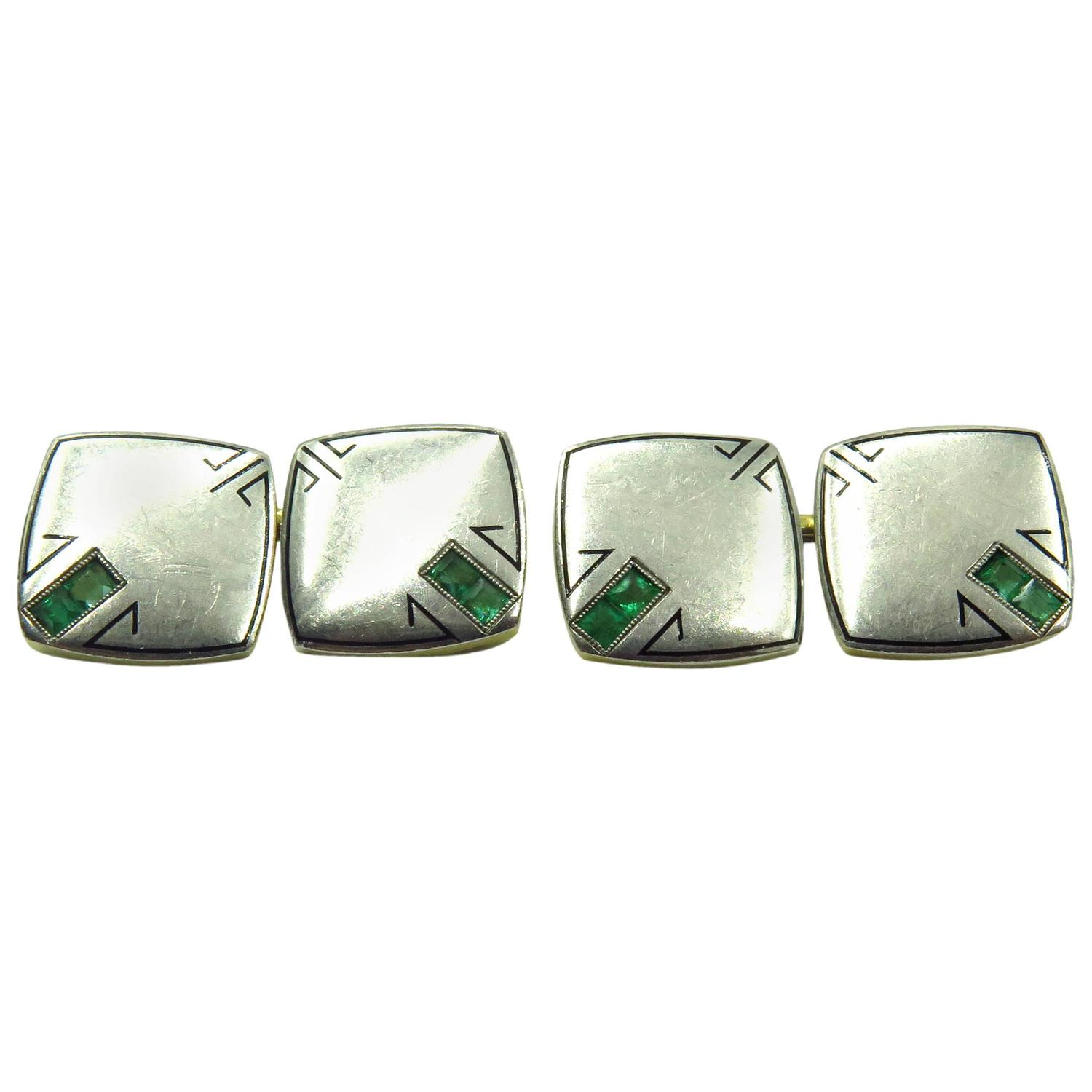 Arts And Crafts Period Enamel Emerald Gold Platinum Early Double Sided Cufflinks For Sale At 1stdibs