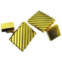 1960s Asprey Solid Double Sided Gold Block Cufflinks