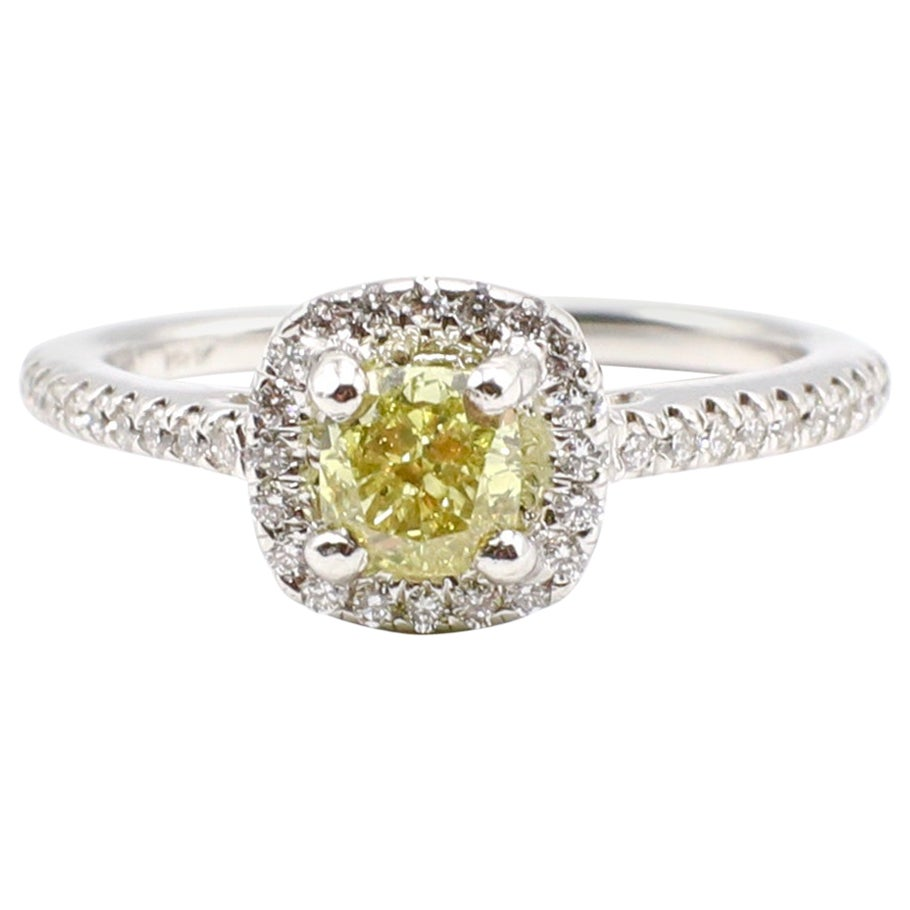 GIA Certified 0.74ct Natural Fancy Brownish Greenish Yellow Cushion Diamond Ring