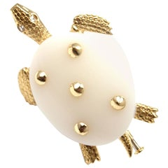 Cartier Paris White Chalcedony Diamond Gold Turtle Brooch