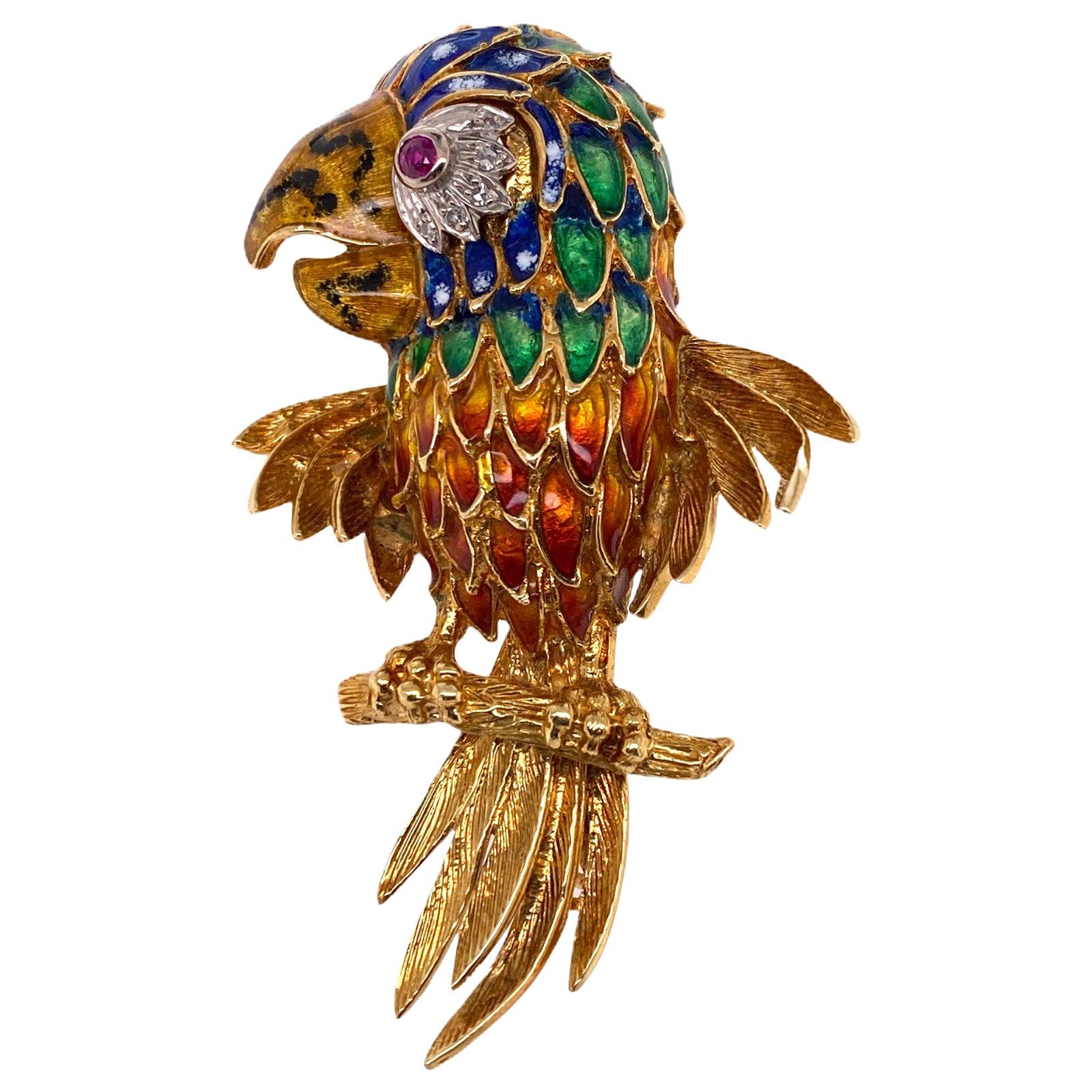 Diamond Ruby Enamel Parrot Pin Brooch 18 Karat Yellow Gold