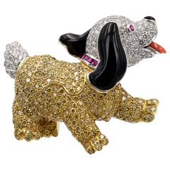 Adorable Onyx Ruby Yellow Diamond Platinum Cocker Spaniel Brooch