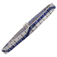 Sapphire Diamond Platinum Line Bracelet