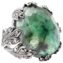 Cathy Waterman Large Emerald Diamond Platinum Cocktail Ring