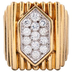 David Webb 1970s Yellow Gold and Diamond Cocktail Ring
