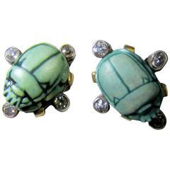 Victorian faience diamond Gold scarab earrings