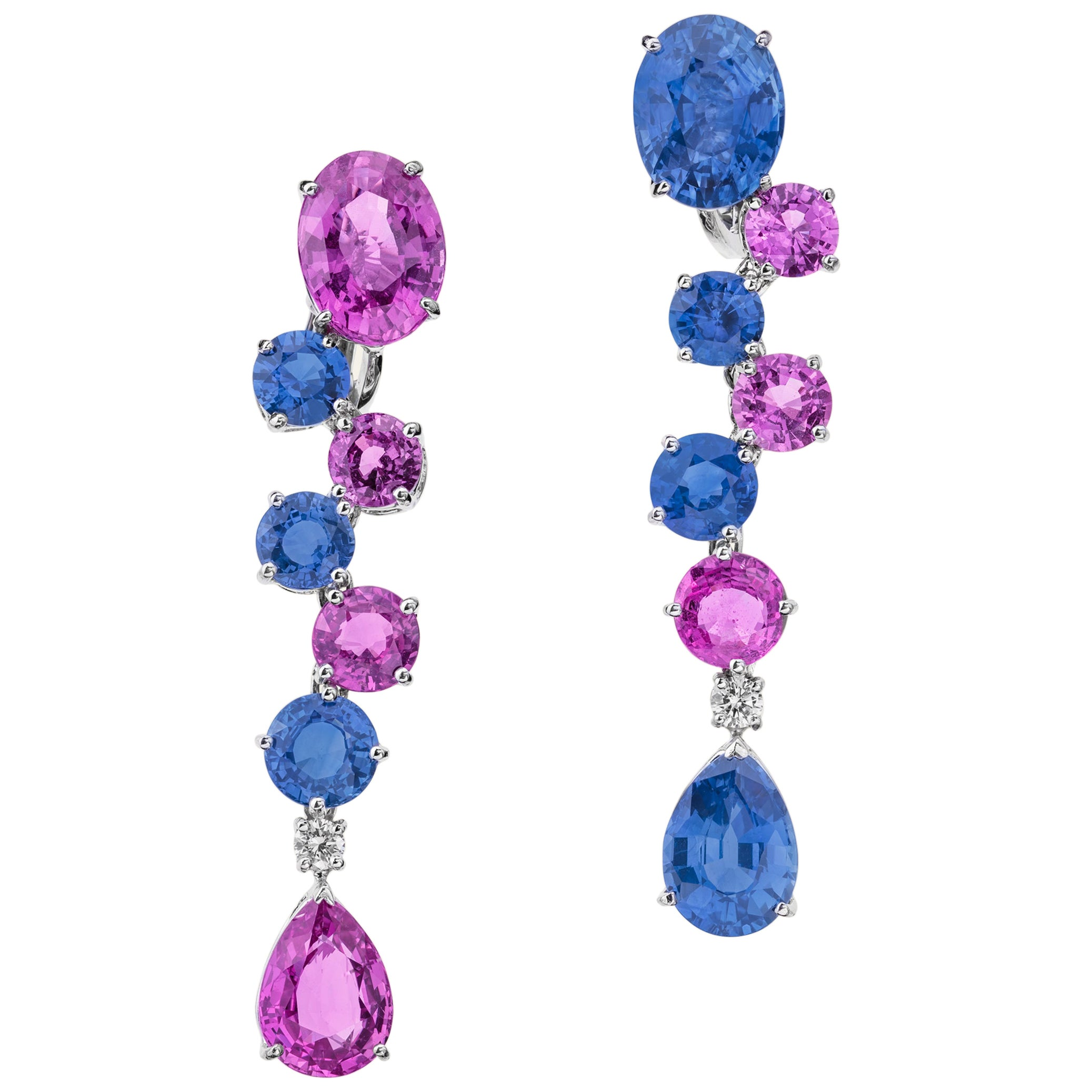 Sabbadini Light Blue and Pink Sapphires Pendant Earrings