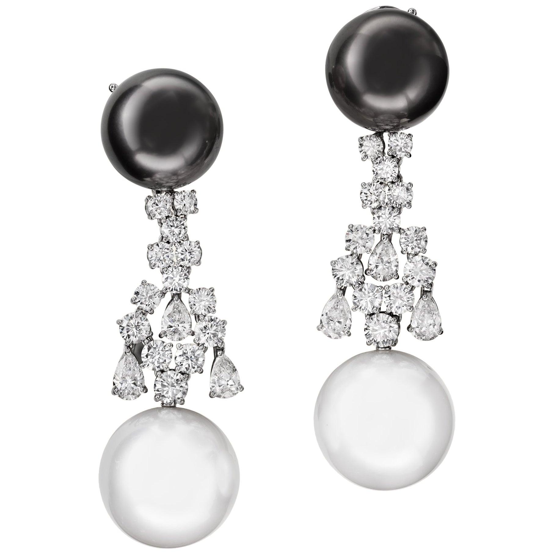 Sabbadini Jewelry Pearl and Diamond Long Earring