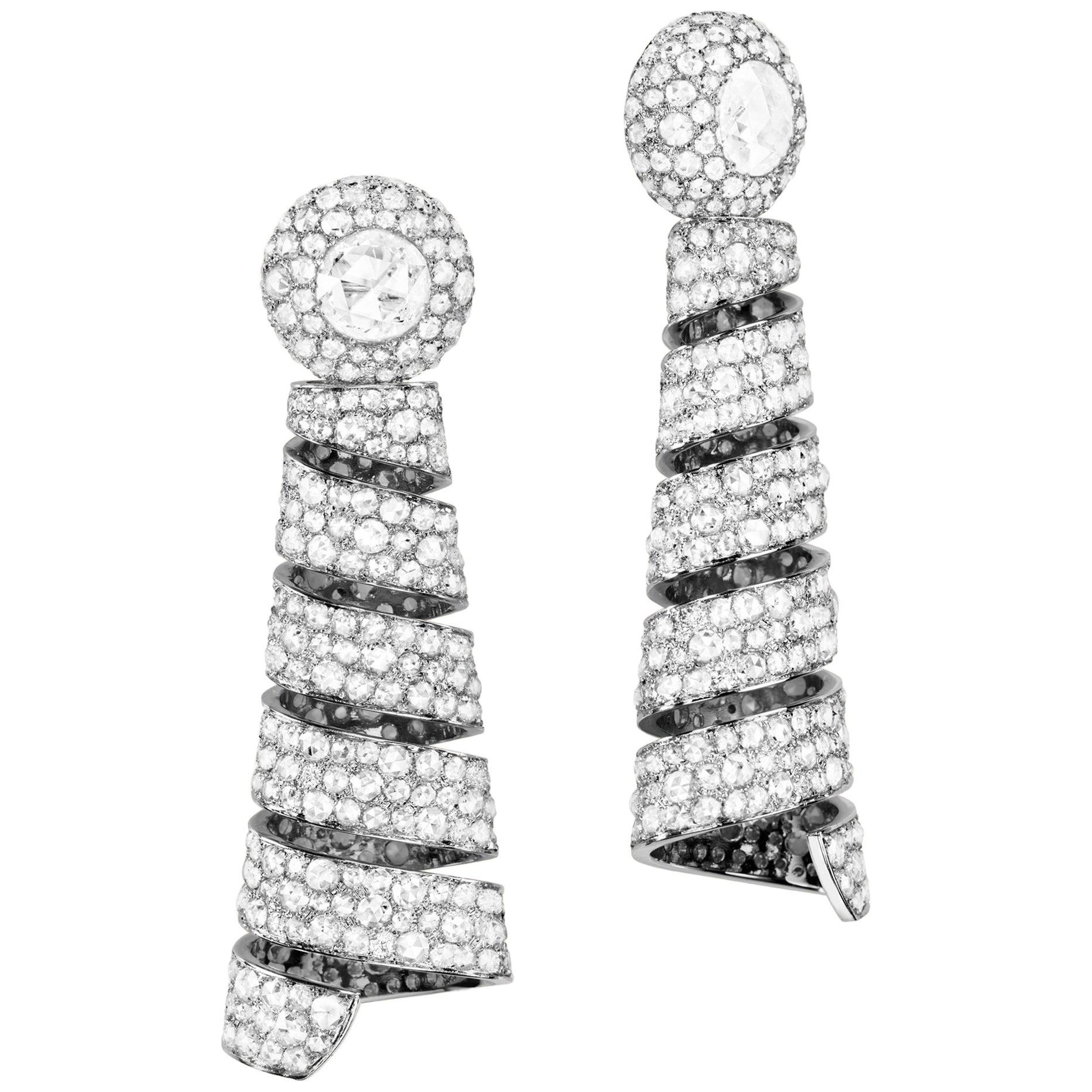 Sabbadini Vintage Inspired Diamond Pendant Earrings