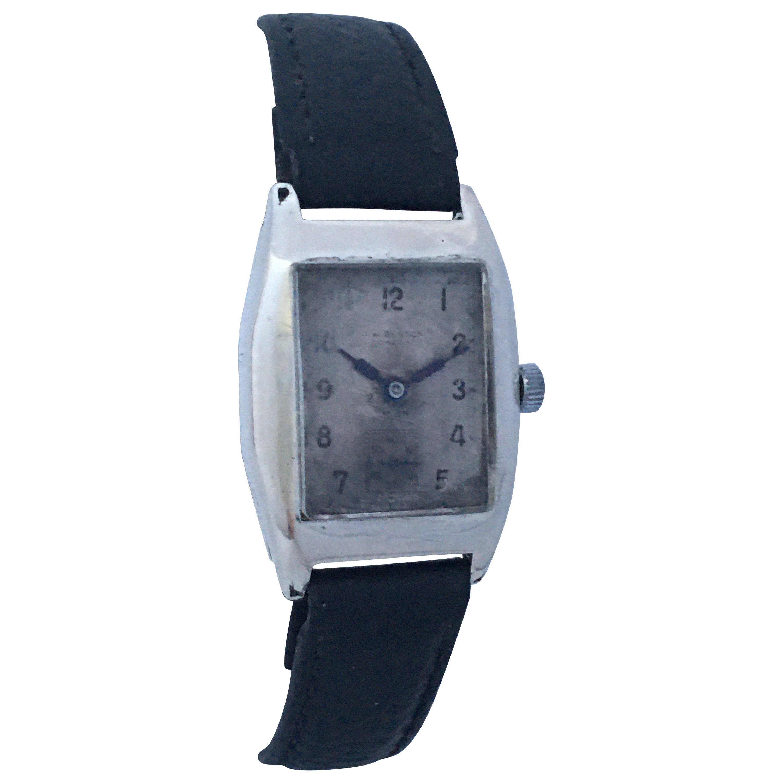 Silver Vintage 1940s J. W. Benson London Mechanical Watch