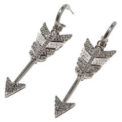 Large Black Diamond Rhodium Silver Arrow Earrings