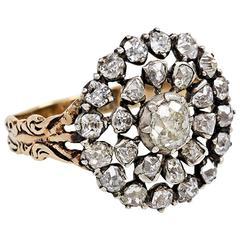 Englischer Antiker Diamant Silber Gold Cluster Ring