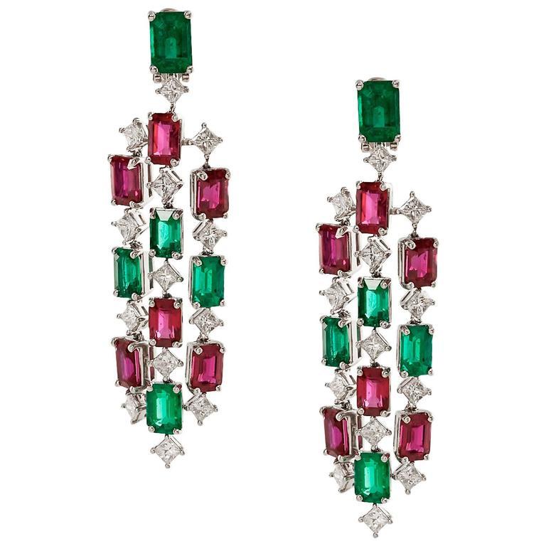 Emerald & Ruby Chandelier Earrings with Diamonds