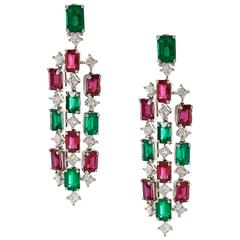 Emerald & Ruby Chandelier Earrings with Diamonds