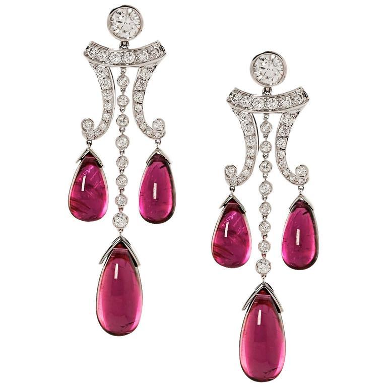 Rubelite & Diamond Gold Drop Earrings