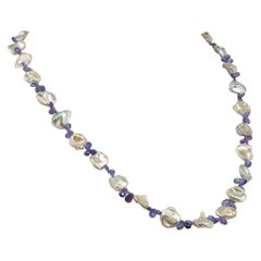 Necklace of White Keshi Pearls and Sparkling Tanzanite June Birthstone