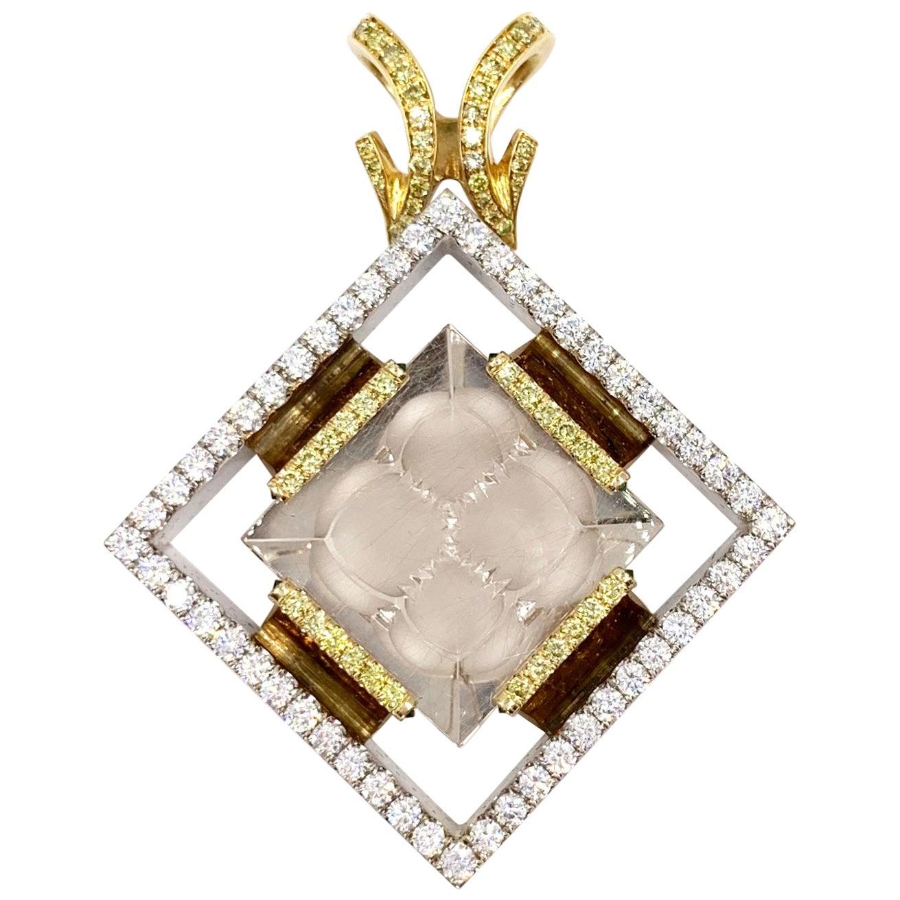 18 Karat Large Yellow and White Diamond Rutilated Quartz Pendant