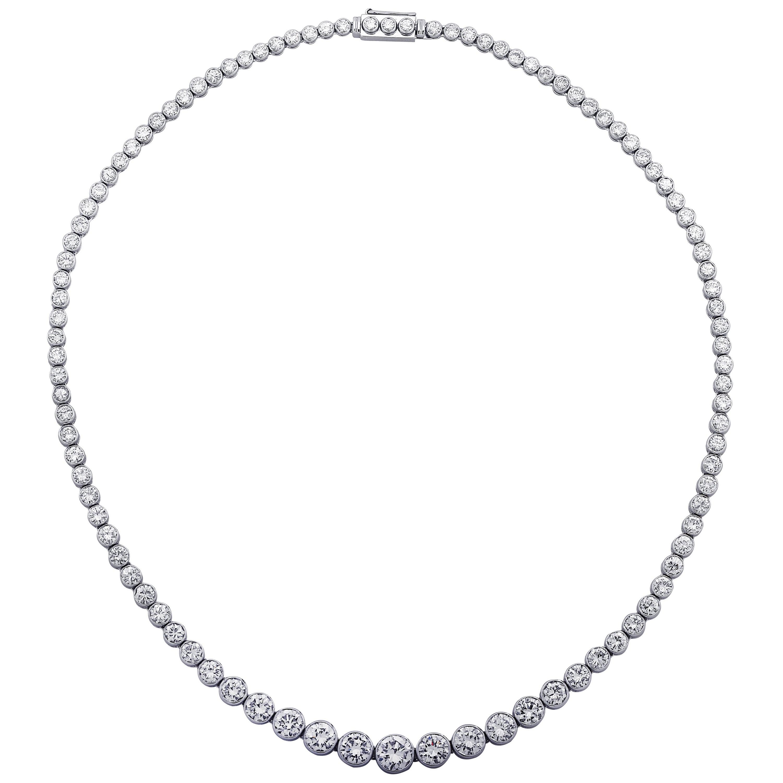 14 Carat Diamond Platinum Riviere Necklace