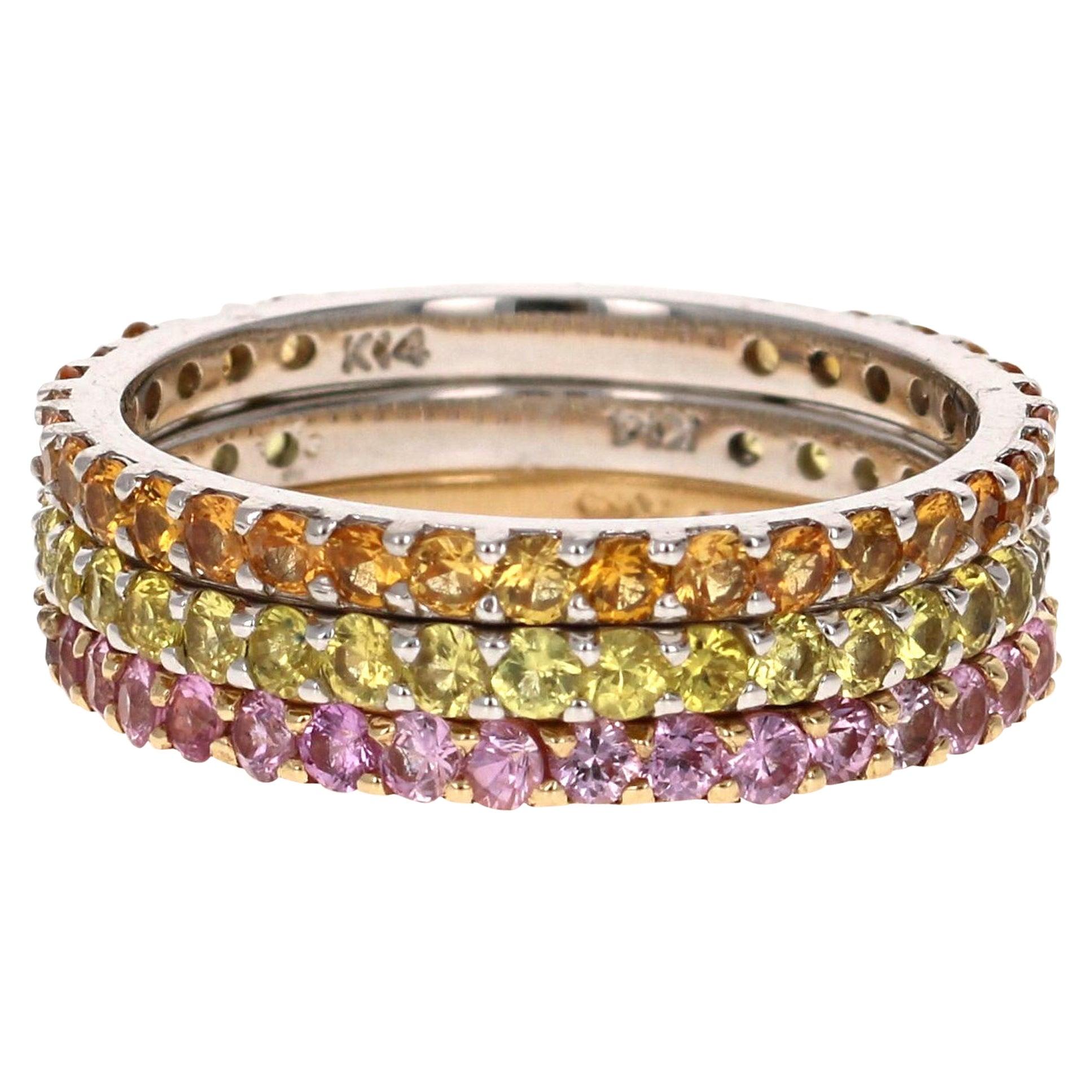 2.82 Carat Round Cut Sapphire 14 Karat Gold Stackable Bands