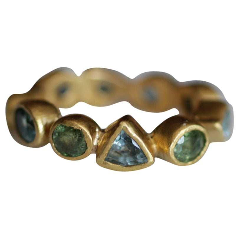 Demantoid Garnet Zircon 22 Karat-21 Karat Solid Gold Bezel Bridal Fashion Ring