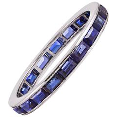 Channel Set Blue Sapphire Eternity Band