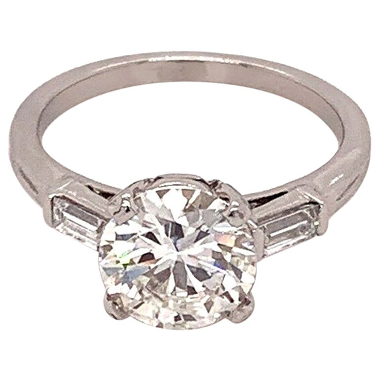 Vintage Tiffany & Co. Round Diamond 1.72 Carat Engagement Ring GIA H VS2