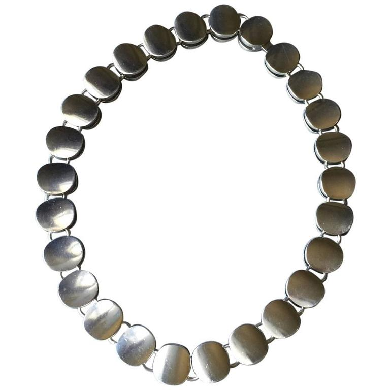 Georg Jensen Sterling Silver Modern Choker Necklace No. 124 by Nanna Ditzel