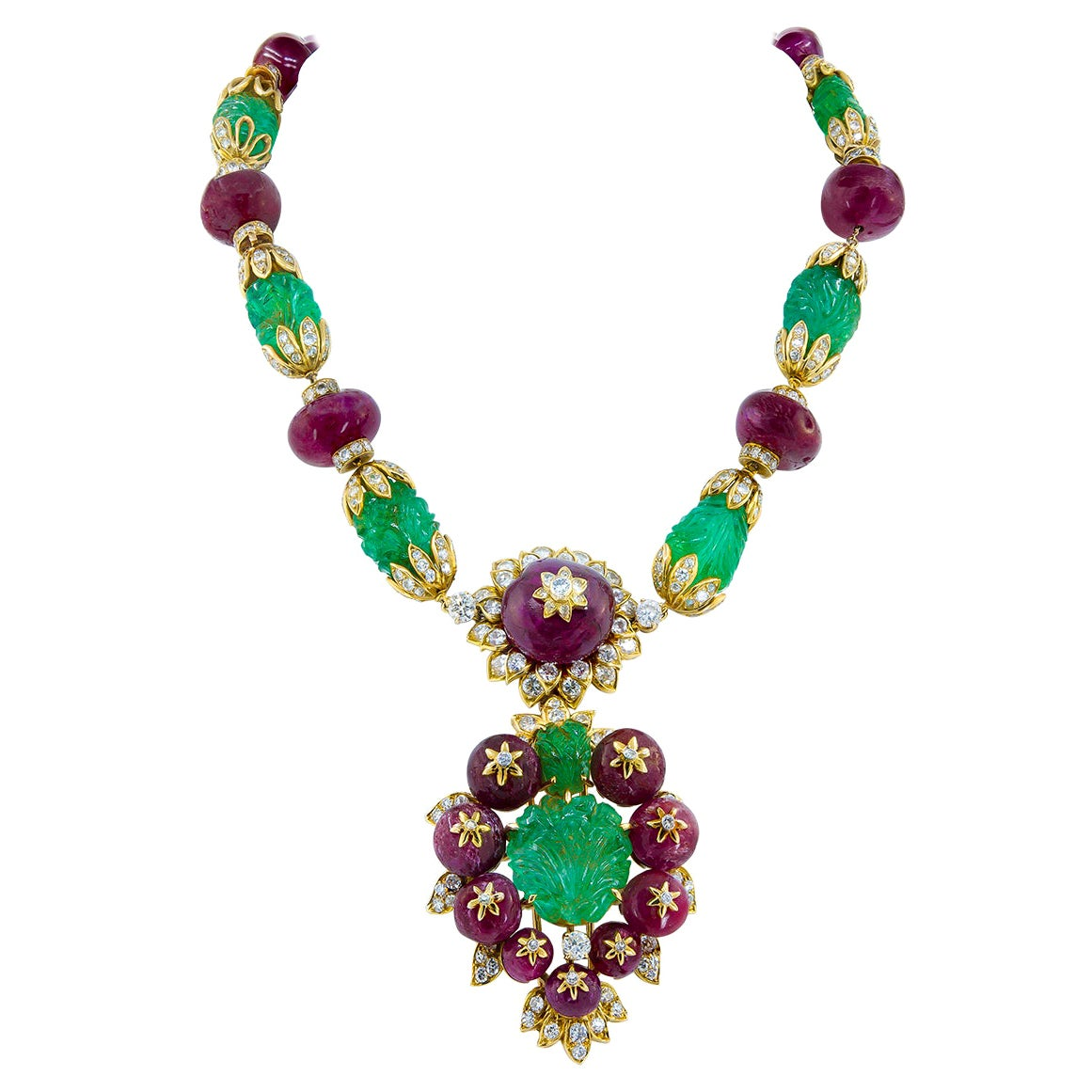 Van Cleef & Arpels Diamond Carved Emerald Ruby Yellow Gold Convertible Suite