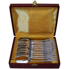 Puiforcat Rare French Sterling Silver Tea or Coffee Spoons Set 12 pc box Swans