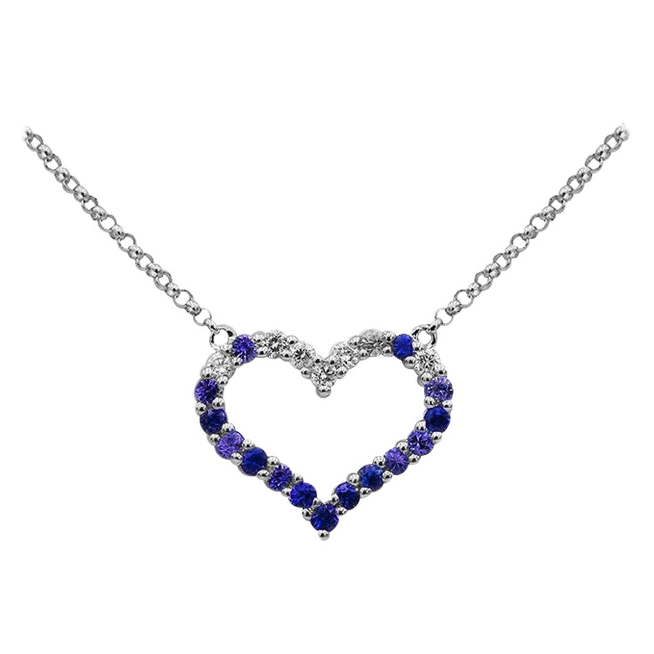 Romantic Blue Sapphire White Diamond White Gold Nice Empty Heart Necklace