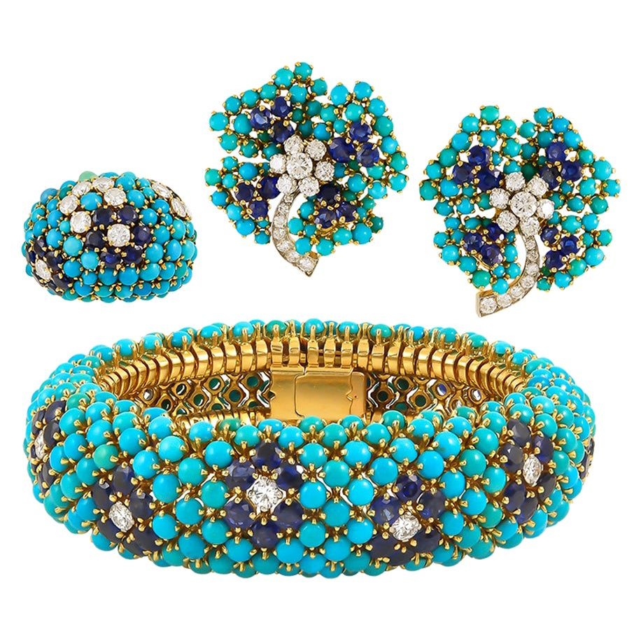 Van Cleef & Arpels Turquoise Yellow Gold Bagatelle Bombe Suite