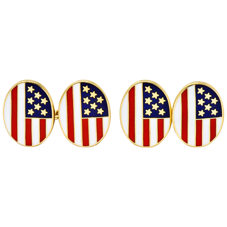Cartier Patriotic Enamel 18 Karat Gold American Flag Men's Cufflinks